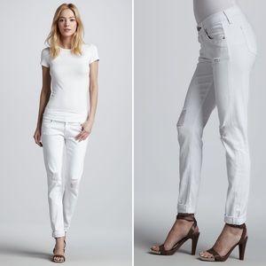 rag & bone Dash Tattered White Slouchy Slim Jeans